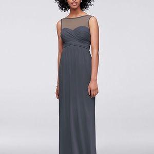 David's Bridal Long Mesh Dress with Illusion Neck
